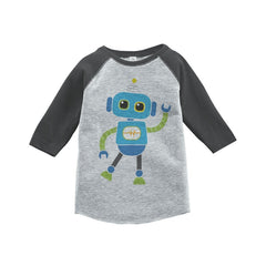 7 ate 9 Apparel Boy's Novelty Robot Vintage Baseball Tee