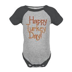 7 ate 9 Apparel Baby's Happy Turkey Day Thanksgiving Onepiece