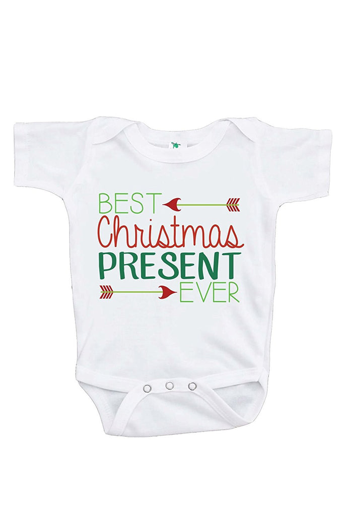 7 ate 9 Apparel Baby's Best Present Ever Christmas Onepiece