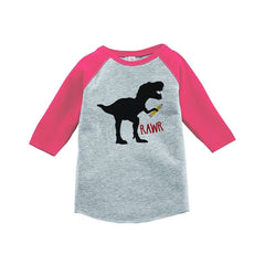 7 ate 9 Apparel Girls Dinosaur School Pink Baseball Tee