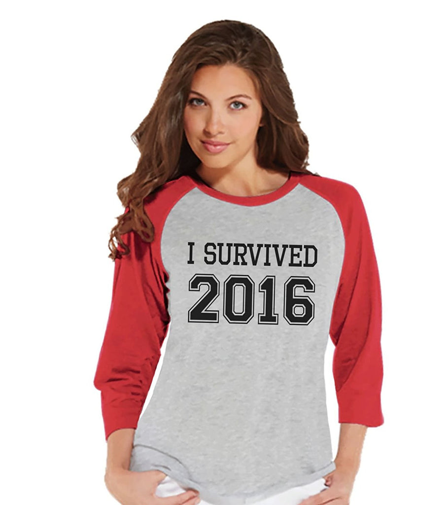 7 ate 9 Apparel Women's I Survived 2016 New Years Raglan Shirt