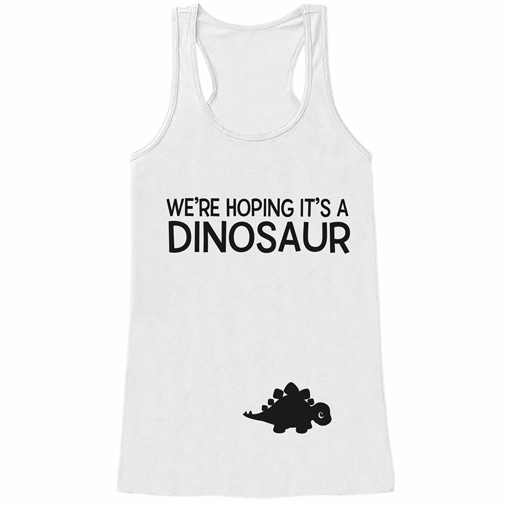 7 ate 9 Apparel Women's Dinosaur Pregnancy Announcement Tank Top