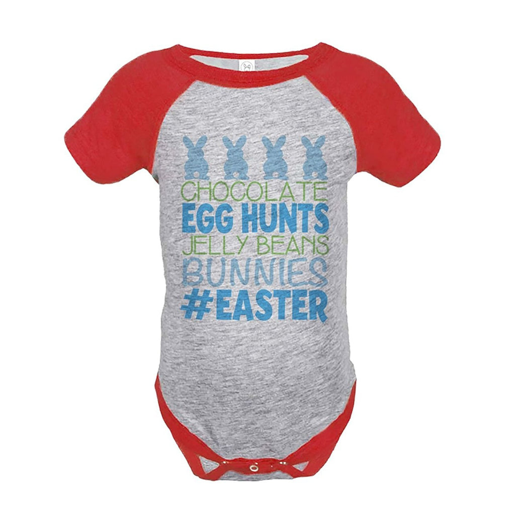 7 Ate 9 Apparel Baby Boy's #Easter Happy Easter Red Onepiece