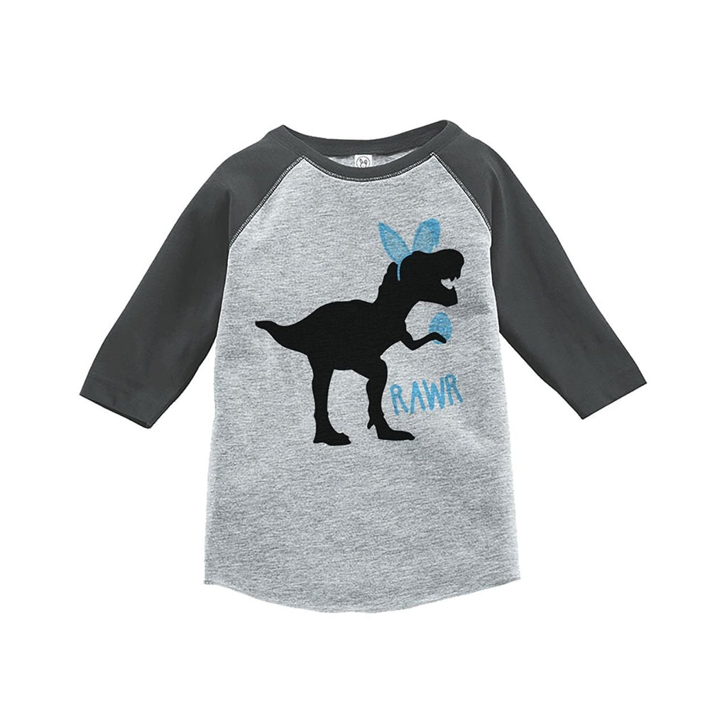 7 Ate 9 Apparel Baby Boy's Dinosaur Happy Easter Grey Raglan