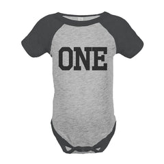 7 ate 9 Apparel Boy's First Birthday Vintage Baseball Tee Onepiece