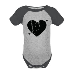 7 ate 9 Apparel Kids Heart Happy Valentine's Day Grey Onepiece