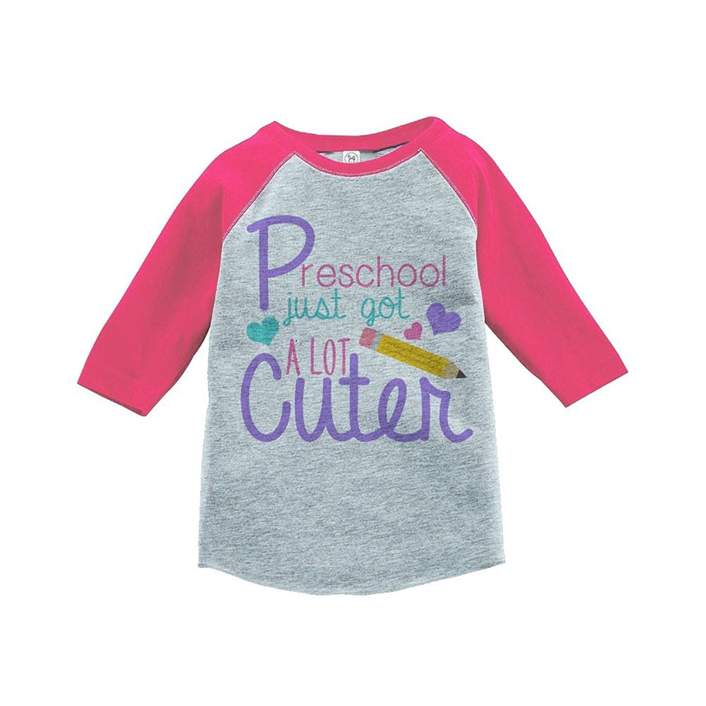 7 ate 9 Apparel Girls Preschool School Raglan Tee