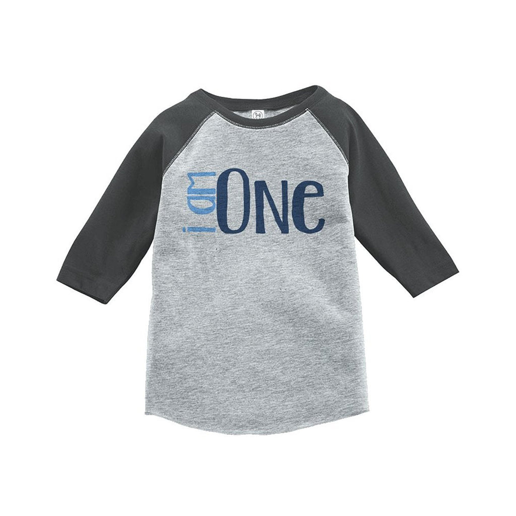 7 ate 9 Apparel Boy's I am One Birthday Vintage Baseball Tee 2T Grey and Blue