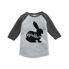 7 Ate 9 Apparel Baby Boy's Brother Bunny Happy Easter Grey Raglan