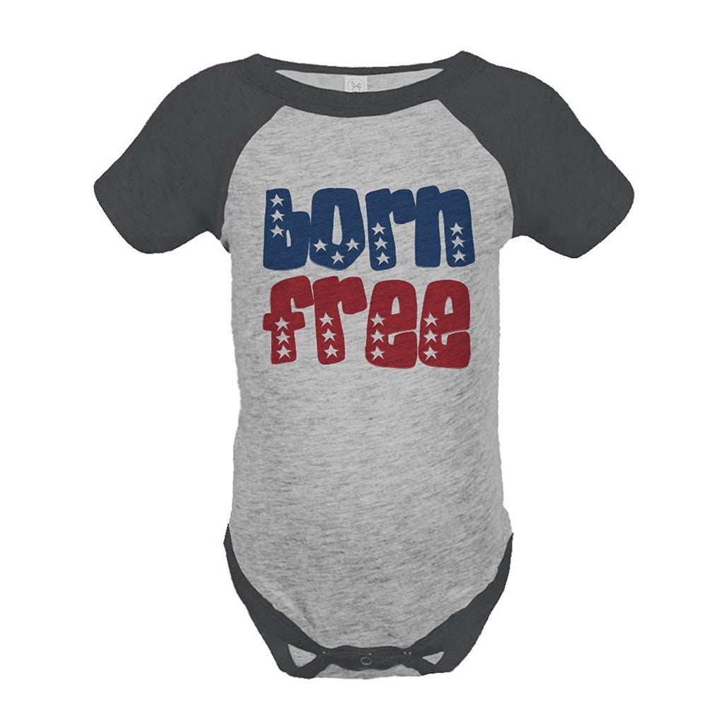 7 ate 9 Apparel Born Free 4th of July Raglan Onepiece