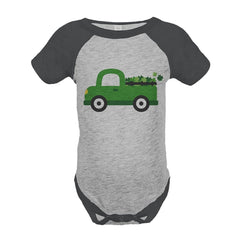 7 ate 9 Apparel Baby's Green Truck St. Patricks Day Grey Onepiece