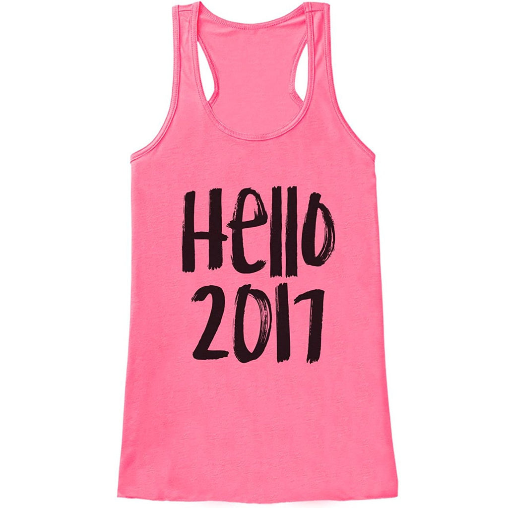 7 ate 9 Apparel Women's Hello 2017 New Years Tank Top