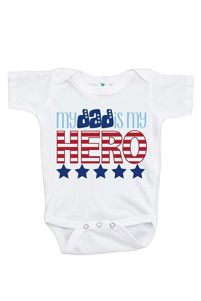 7 ate 9 Apparel Baby's Daddy is My Hero 4th of July Onepiece