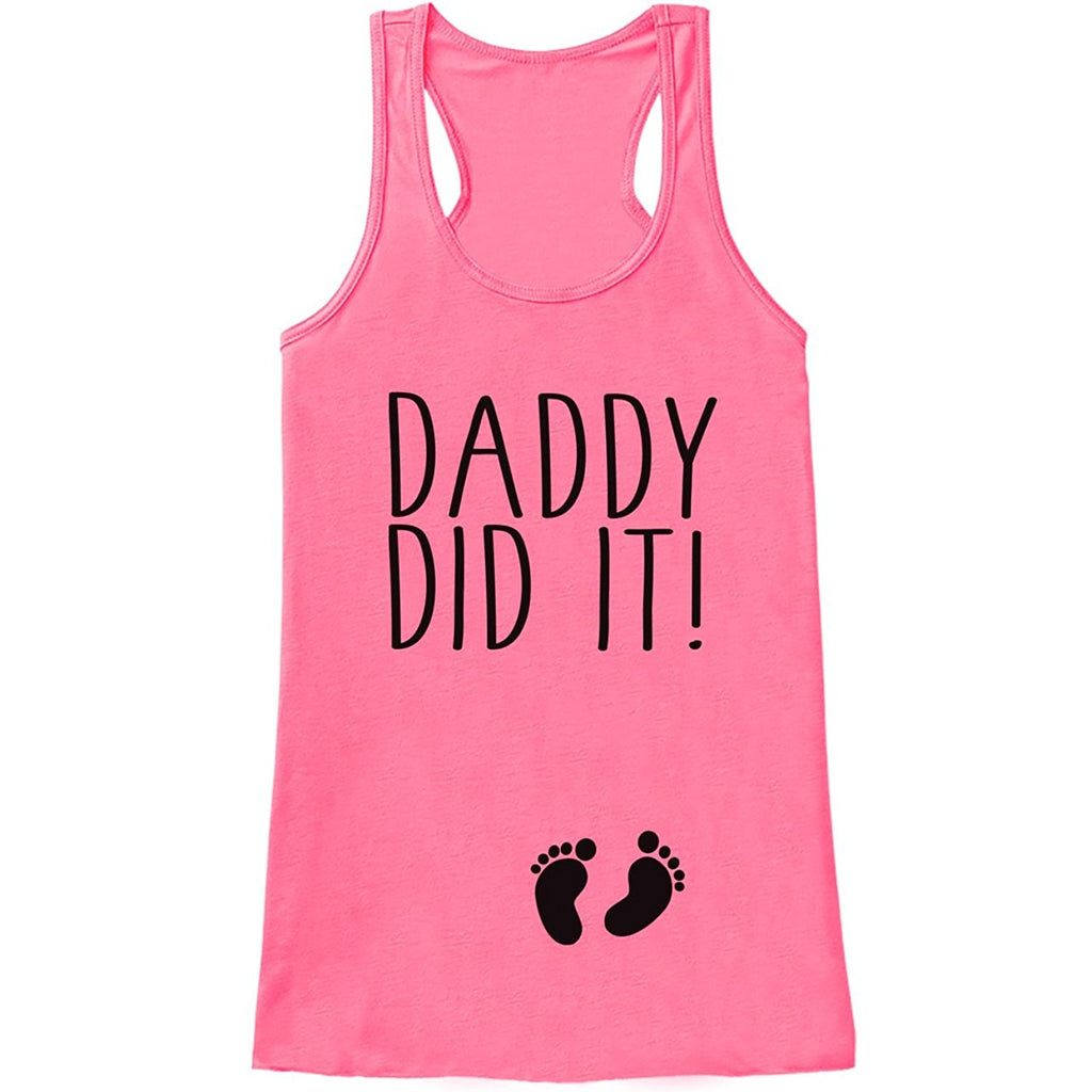 7 ate 9 Apparel Women's Daddy Did It Pregnancy Announcement Tank Top