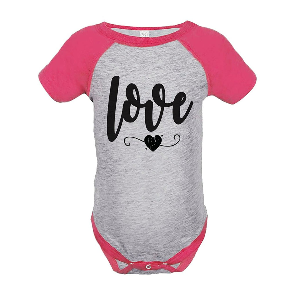 7 ate 9 Apparel Kids Love Heart Happy Valentine's Day Pink Onepiece