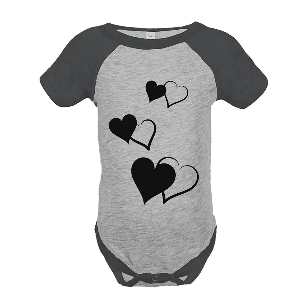 7 ate 9 Apparel Girl's Hearts Wedding Grey Raglan Onepiece