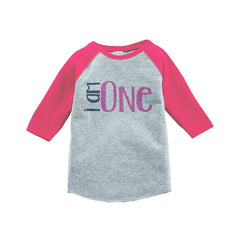 7 ate 9 Apparel Girls' I am One Birthday Vintage Baseball Tee 2T Grey and Pink