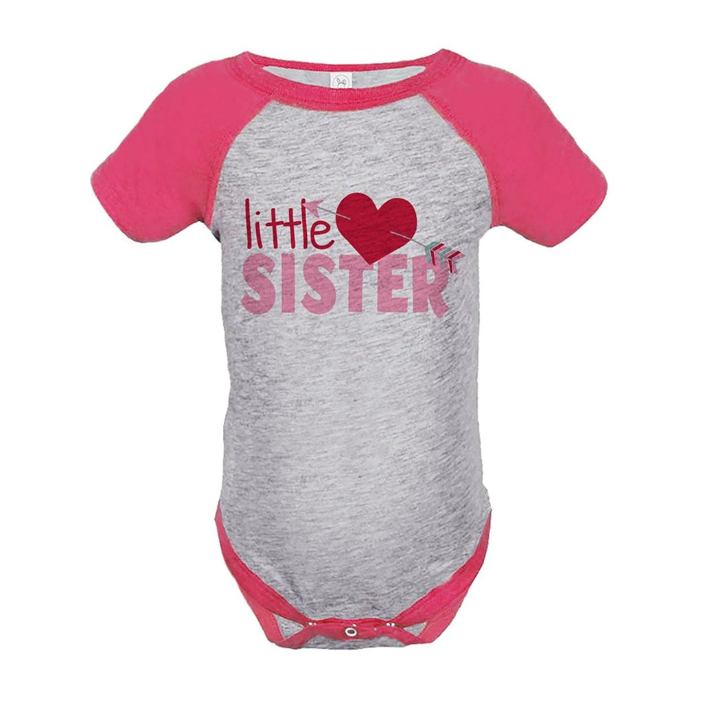 7 ate 9 Apparel Girl's Little Sister Happy Valentine's Day Pink Onepiece