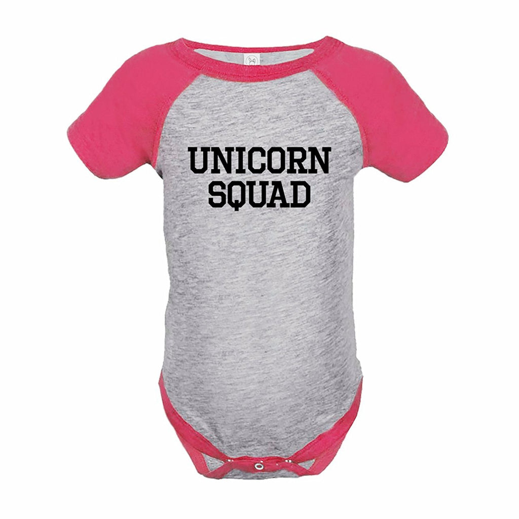 7 ate 9 Apparel Funny Kids Unicorn Squad Baseball Onepiece Pink