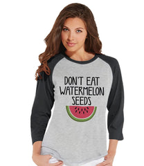 7 ate 9 Apparel Women's Funny Pregnancy Announcement Baseball Tee