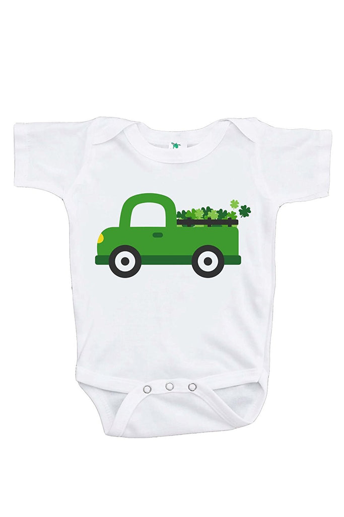 7 ate 9 Apparel Baby's Green Truck St. Patricks Day Onepiece