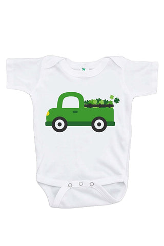 Custom Party Shop Baby's Green Truck St. Patricks Day Onepiece
