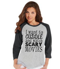 7 ate 9 Apparel Womens Scary Movies Halloween Raglan Shirt