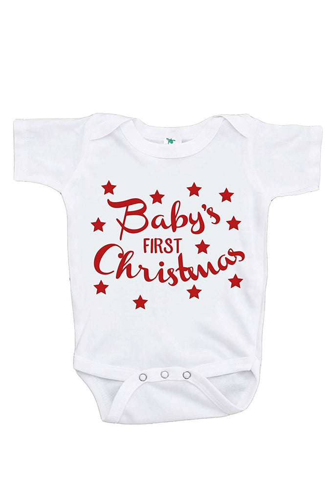 7 ate 9 Apparel Baby's First Christmas Onepiece
