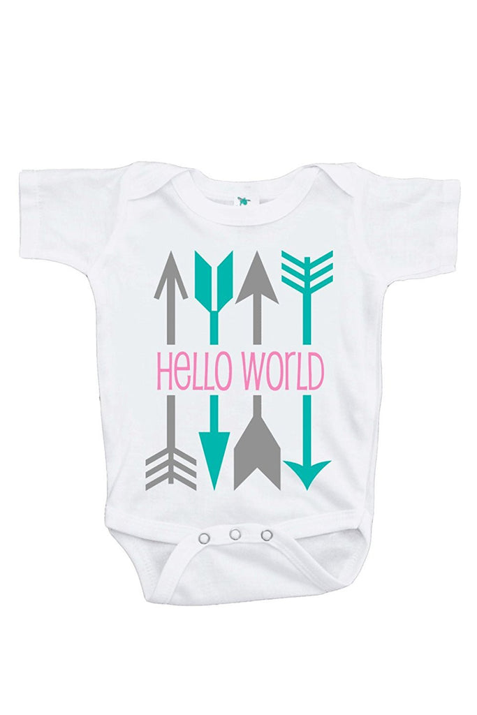 7 ate 9 Apparel Baby Girl's Hello World Onepiece