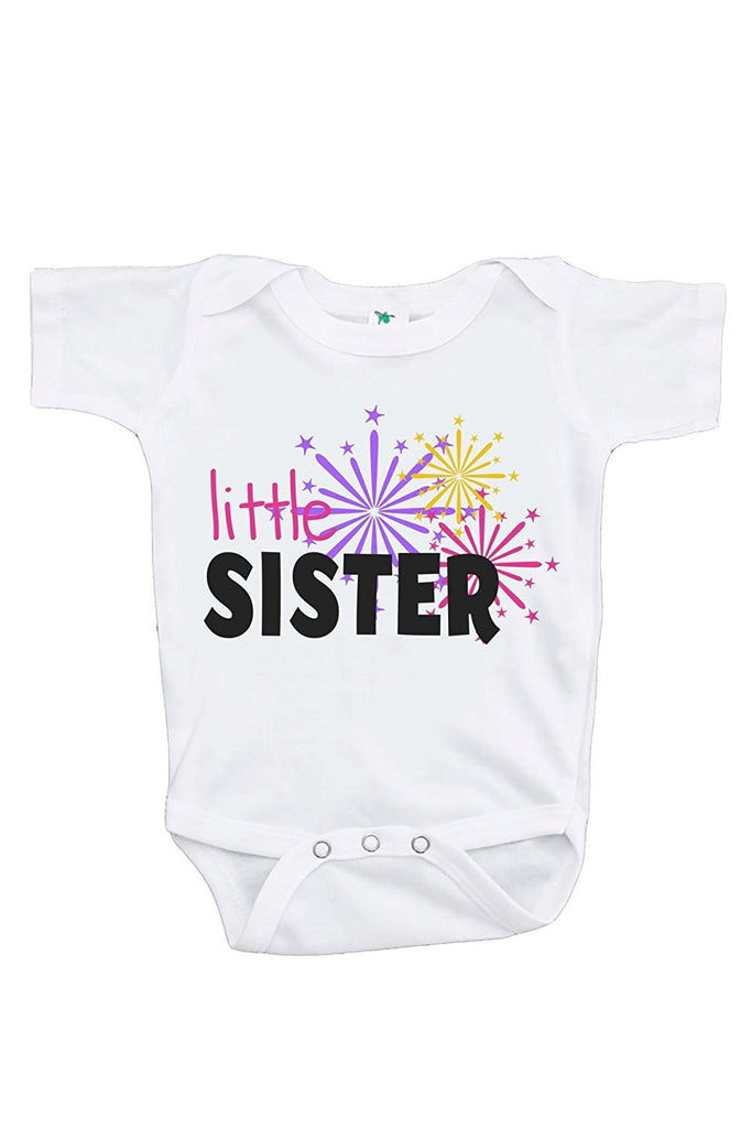7 ate 9 Apparel Baby's Little Sister Happy New Year Onepiece