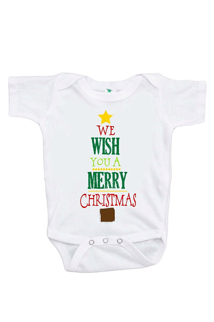 7 ate 9 Apparel Unisex Baby's Merry Christmas Tree Onepiece