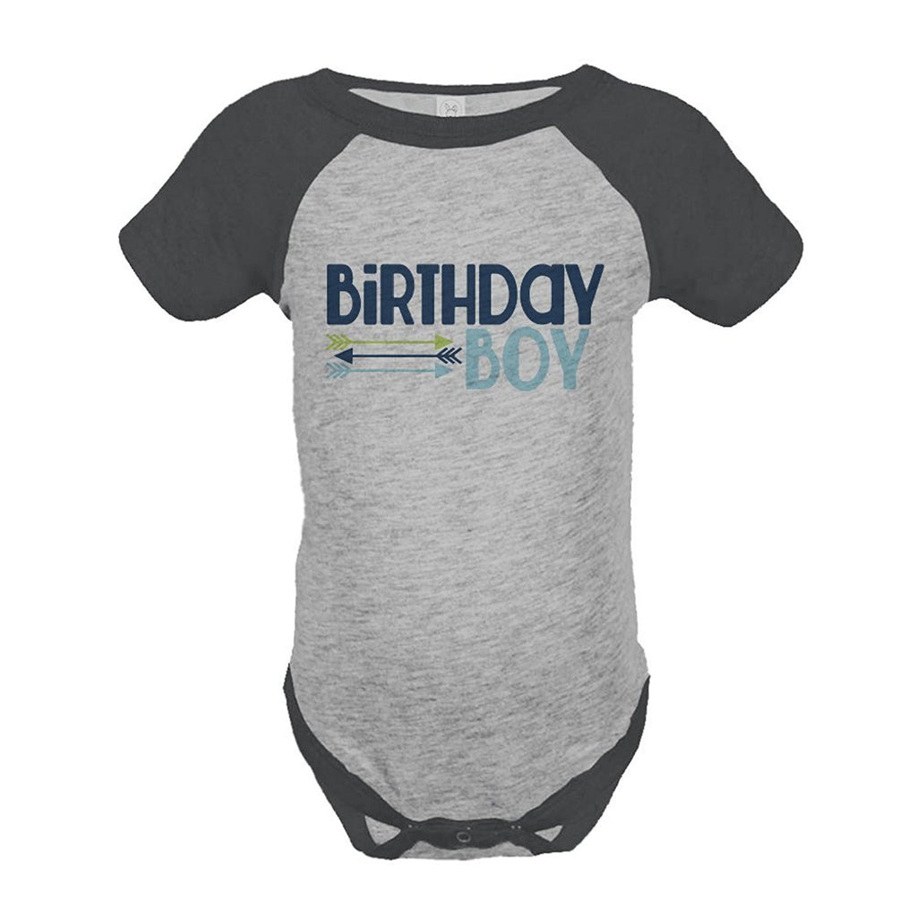 7 ate 9 Apparel Boy's First Birthday Arrows Vintage Baseball Tee Onepiece