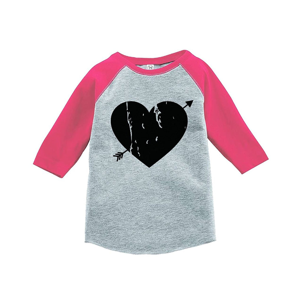 7 ate 9 Apparel Kids Heart Happy Valentine's Day Pink Raglan