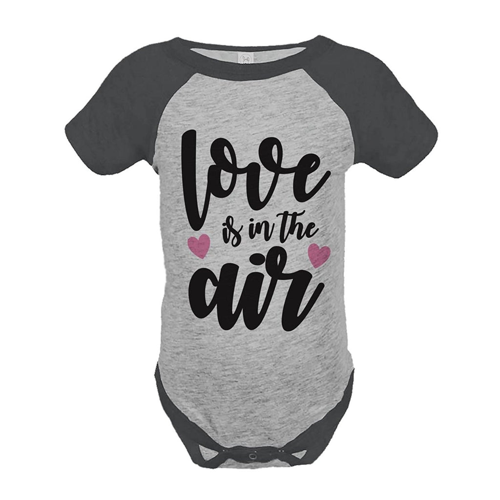 7 ate 9 Apparel Kids Love is in the Air Valentine's Day Grey Onepiece