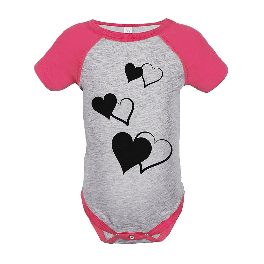 7 ate 9 Apparel Girl's Hearts Wedding Pink Raglan Onepiece