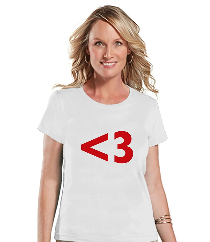 7 ate 9 Apparel Womens <3 Heart Valentine's Day T-shirt