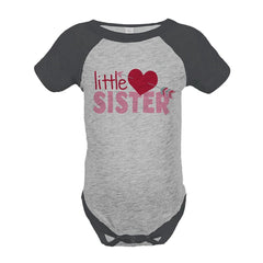 7 ate 9 Apparel Girl's Little Sister Happy Valentine's Day Grey Onepiece