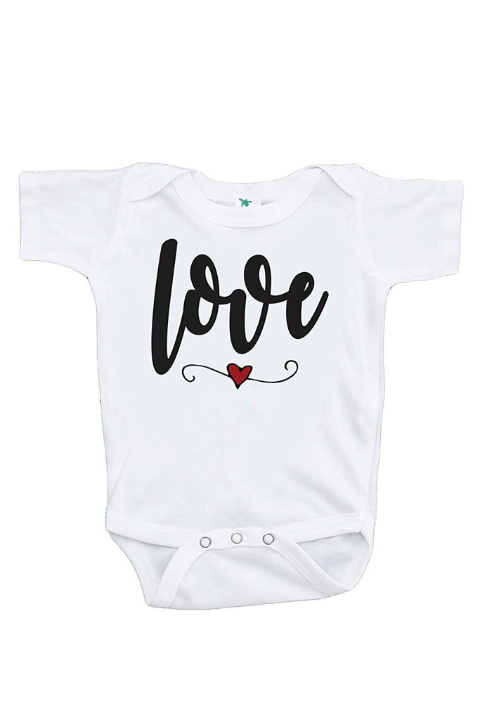 7 ate 9 Apparel Baby's Love Heart Happy Valentine's Day Onepiece