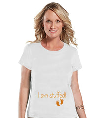 7 ate 9 Apparel Womens I'm Stuffed Thanksgiving Pregnancy Announcement T-shirt