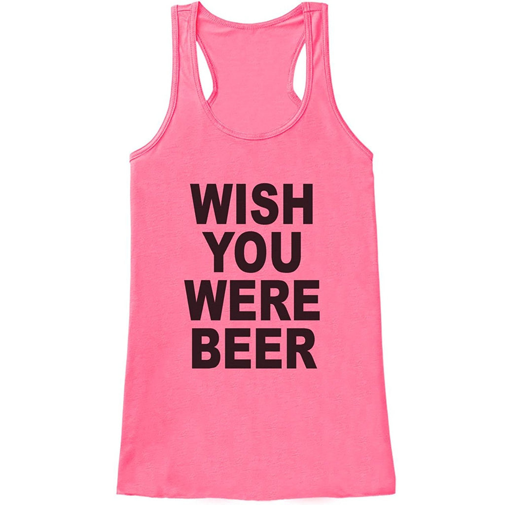 7 ate 9 Apparel Womens Wish You Were Beer Funny Tank Top