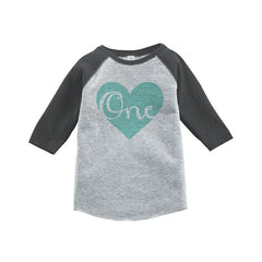 7 ate 9 Apparel Boy's First Birthday Vintage Baseball Tee 2T Grey and Teal
