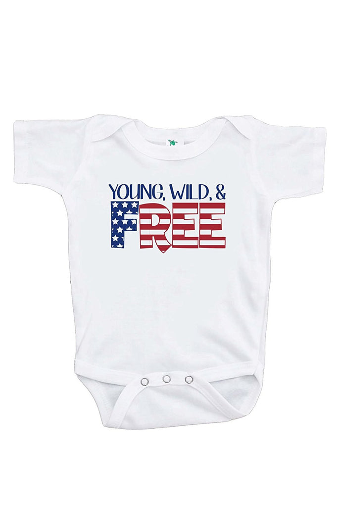 7 ate 9 Apparel Kids Young Wild Free 4th of July Onepiece