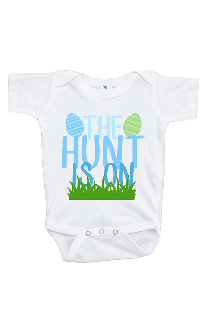 7 ate 9 Apparel Unisex Baby's Novelty Easter Egg Hunt Easter Onepiece