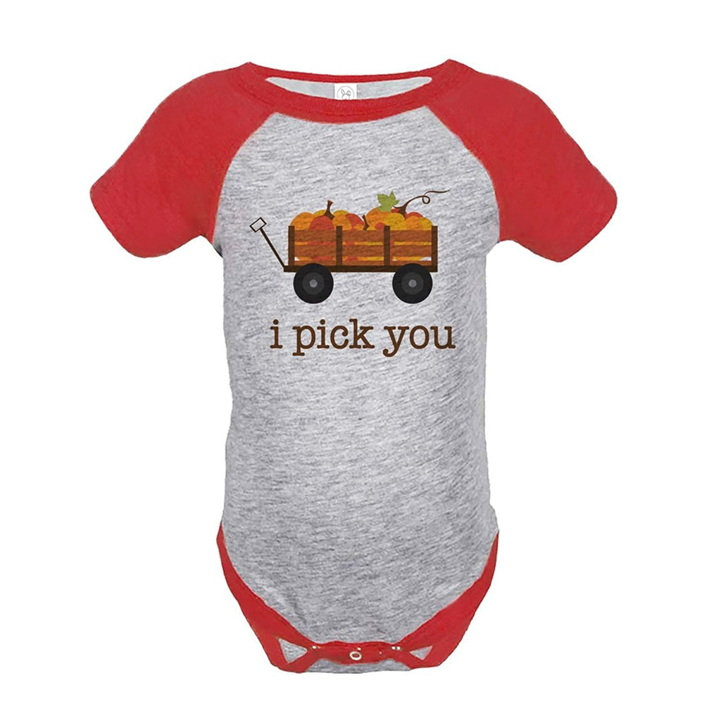 7 ate 9 Apparel Baby's I Pick You Pumpkin Thanksgiving Onepiece