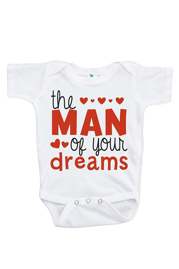 7 ate 9 Apparel Unisex Baby's Man of Your Dreams Valentine Onepiece