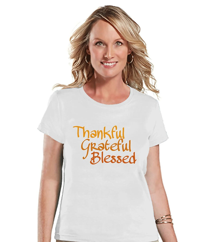 7 ate 9 Apparel Women's Thankul Grateful Blessed Thanksgiving T-shirt