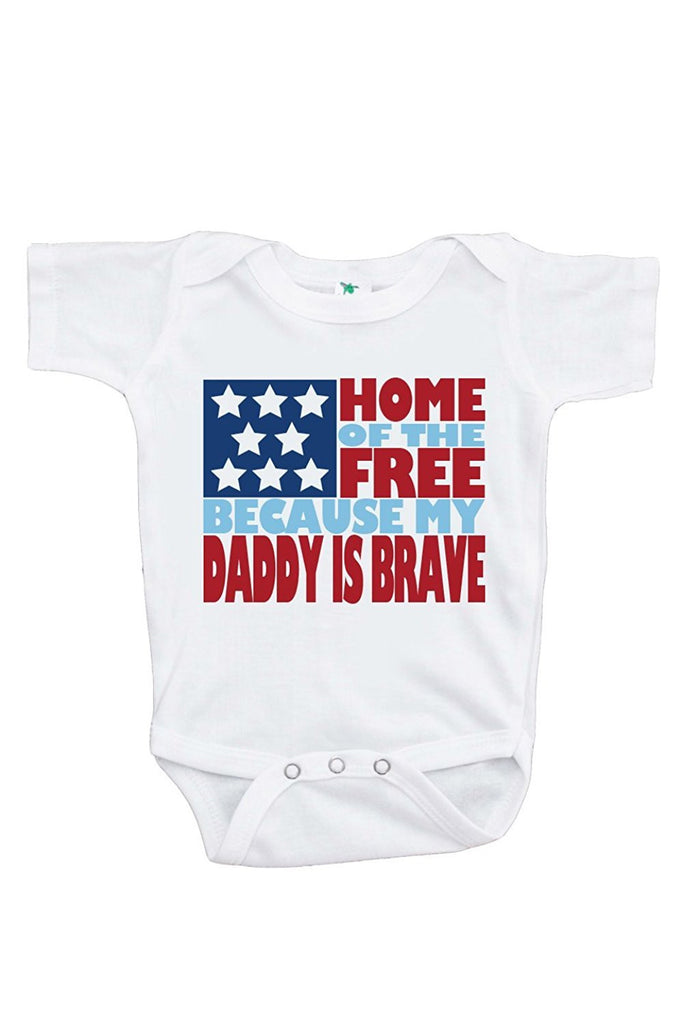 7 ate 9 Apparel Baby's Daddy is Brave 4th of July Onepiece