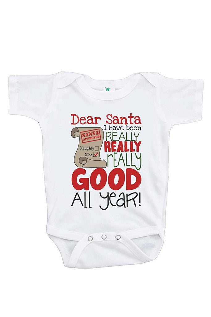 7 ate 9 Apparel Baby's I've Been Good All Year Christmas Onepiece