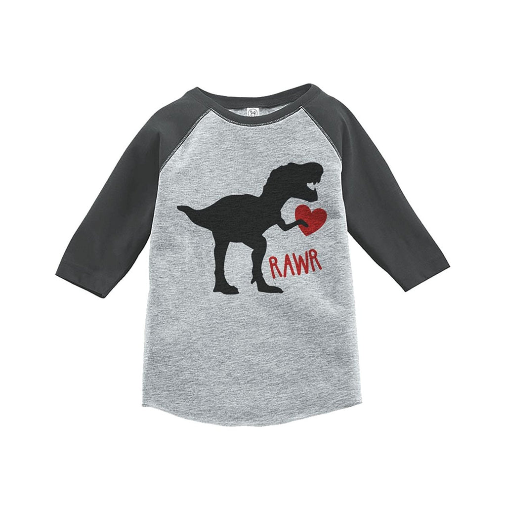 7 ate 9 Apparel Kids Dinosaur Happy Valentine's Day Grey Raglan