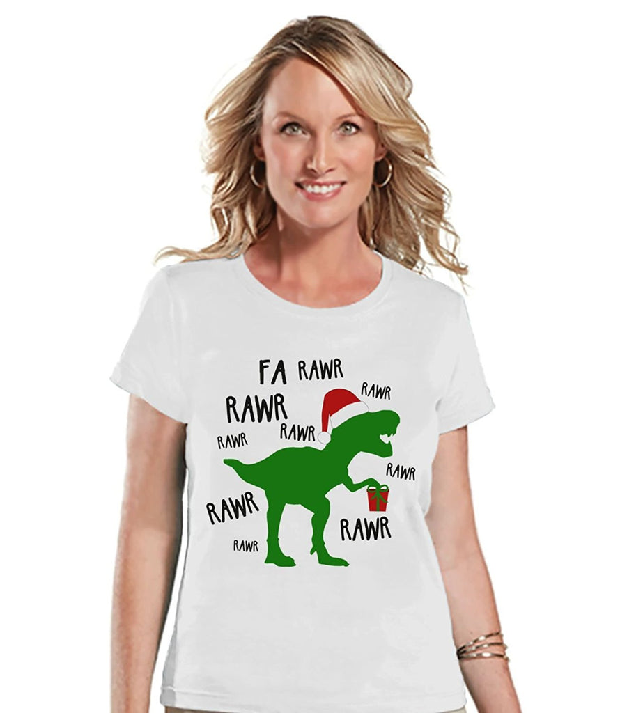 7 ate 9 Apparel Womens Dinosaur Christmas T-shirt